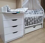 Акция! Комплект премиум класса: Комод+ кроватка маятник+ матрас кокос + постель. Новый Киев