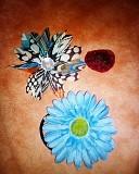 Резинки и нашивки цветок синий красная роза, и с камнем доставка із м.Запоріжжя