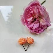 Серьги сережки розочки розы розовые бежевые детские девичьи женск доставка із м.Запоріжжя