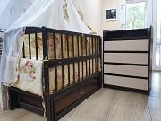 Акция! Комплект: комод пеленальный, кроватка маятник, матрас кокос, постель Київ