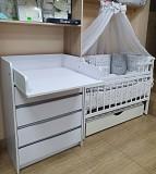 Акция! Комплект: комод пеленальный, кроватка маятник, матрас кокос, постель 8 элементов Київ